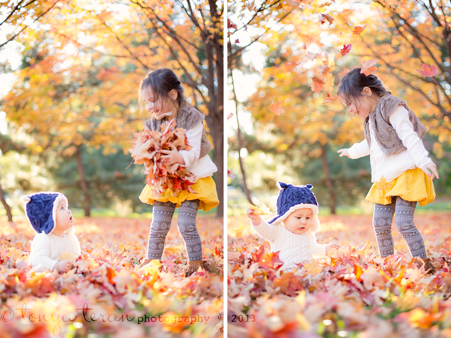 baby playing in fall leaves | Rockville, MD | Tonya Teran Photography