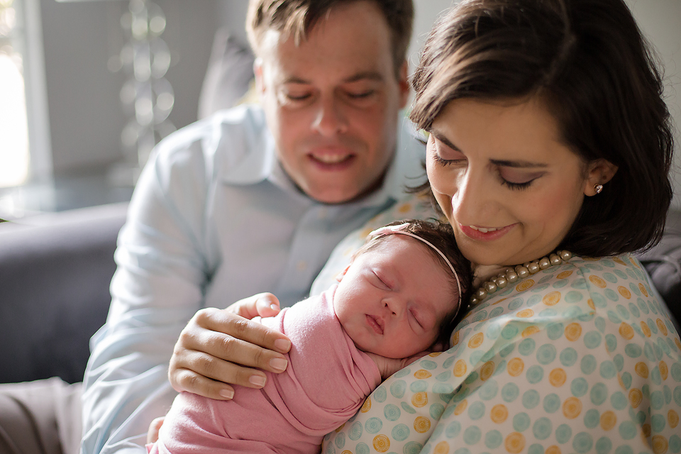 Sleeping newborn family pose - Tonya Teran Photography - Bethesda, MD Newborn Baby and Family Photographer