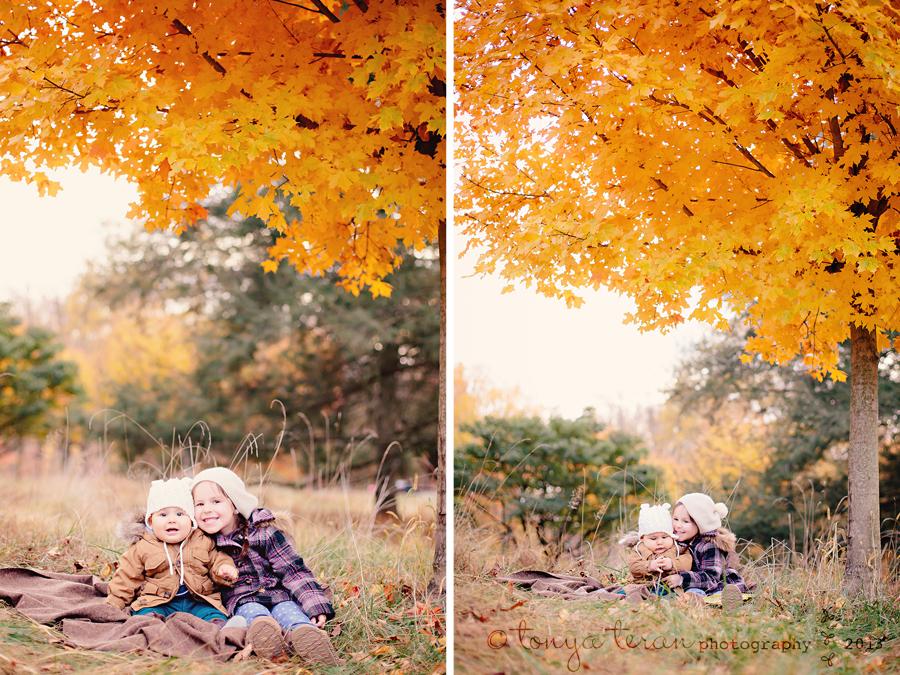 siblings in fall leaves | Rockville, MD | Tonya Teran Photography