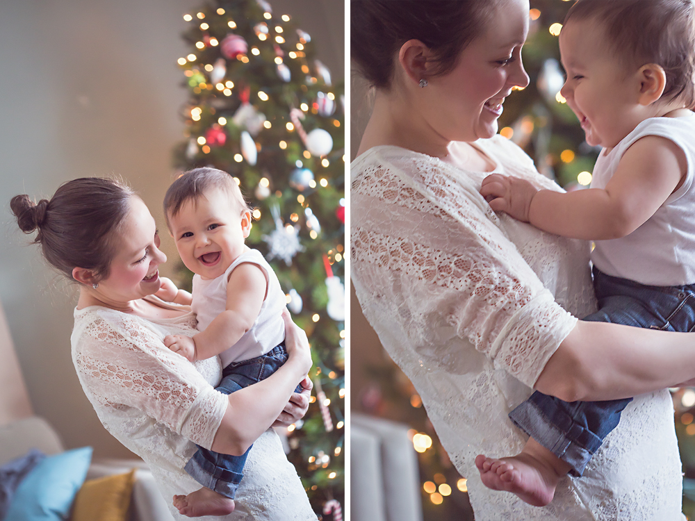 baby with christmas tree | Tonya Teran Photography, Rockvile, MD Baby Photographer