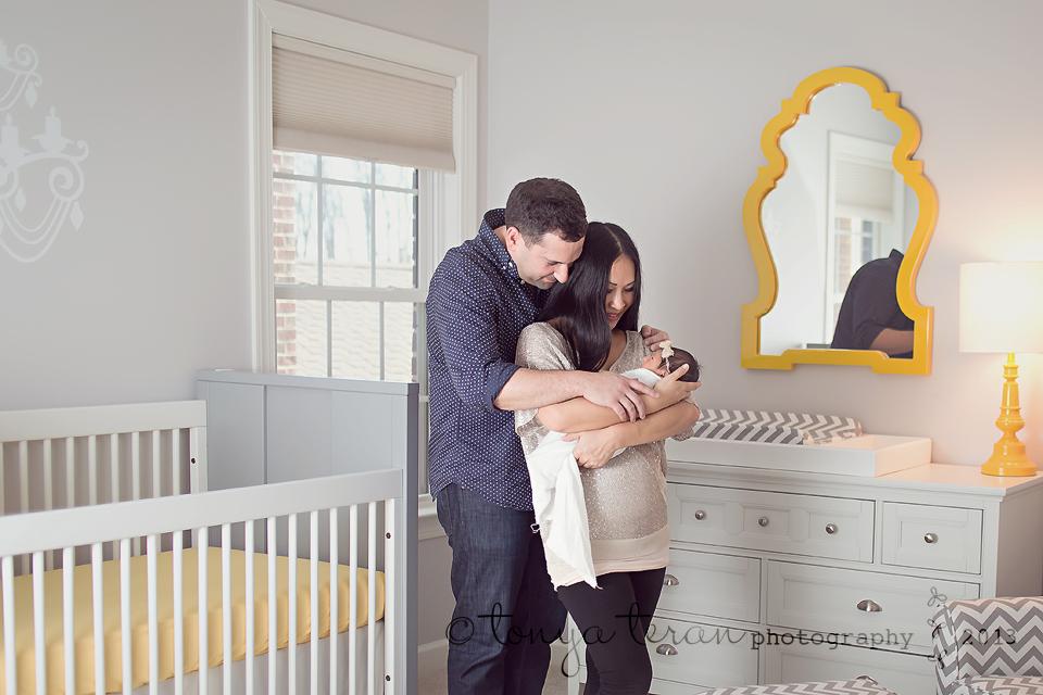 gray and yellow nursery | Rockville, MD newborn photographer Tonya Teran Photography
